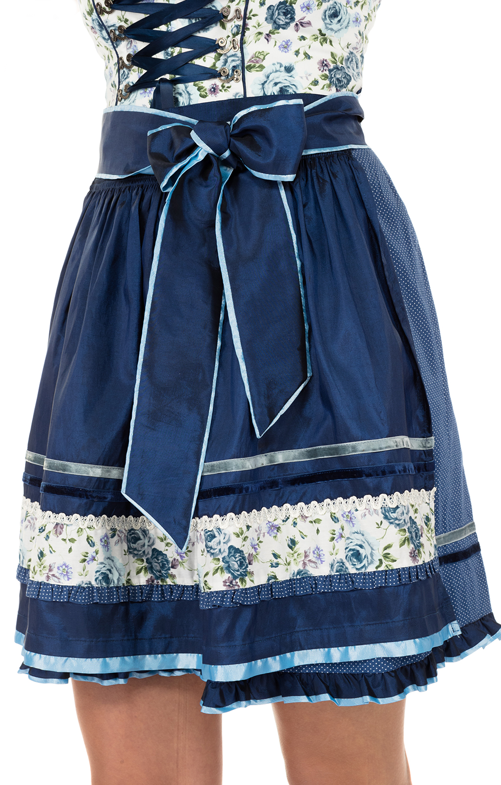 weitere Bilder von Minidirndl Blue Roses 50cm 2tlg. Sommertraum blau-ecru
