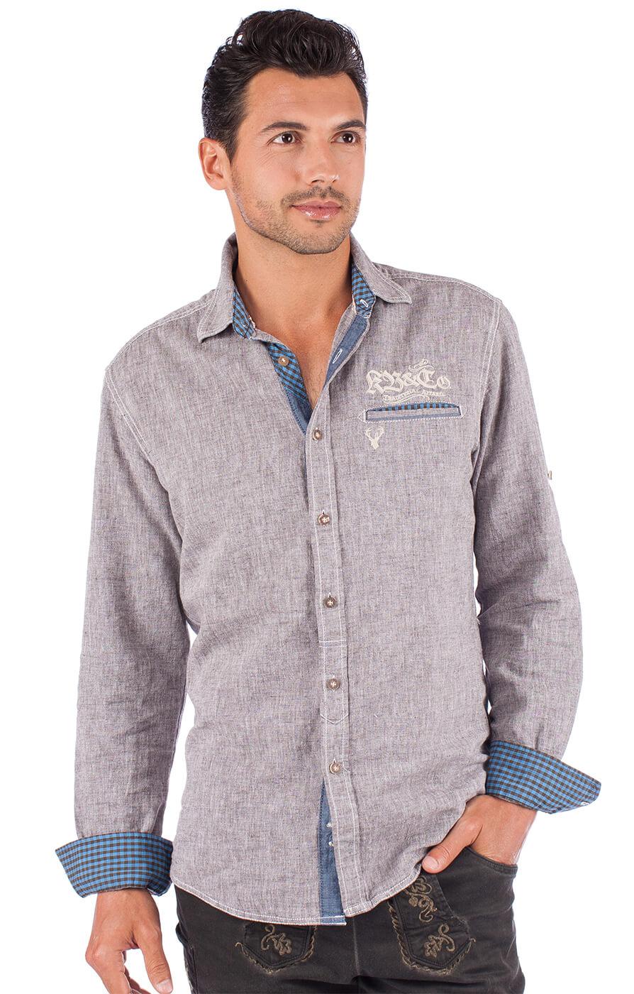 Trachtenhemd 92103 grau von Krüger Dirndl