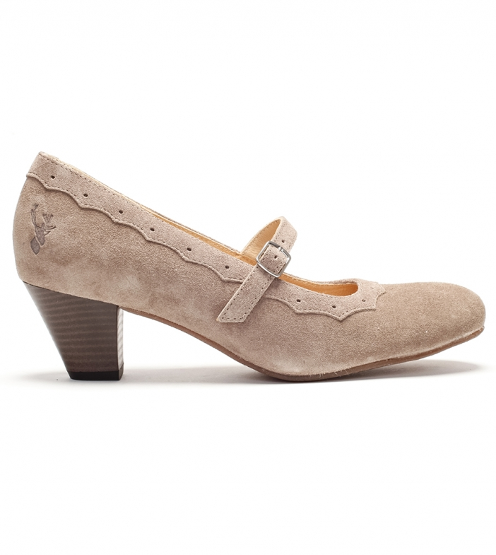 Traditional dirndl shoes D409 Juliette taupe