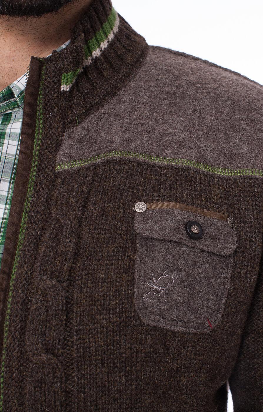 weitere Bilder von Giacca Trachten in maglia BALDO marrone/verde