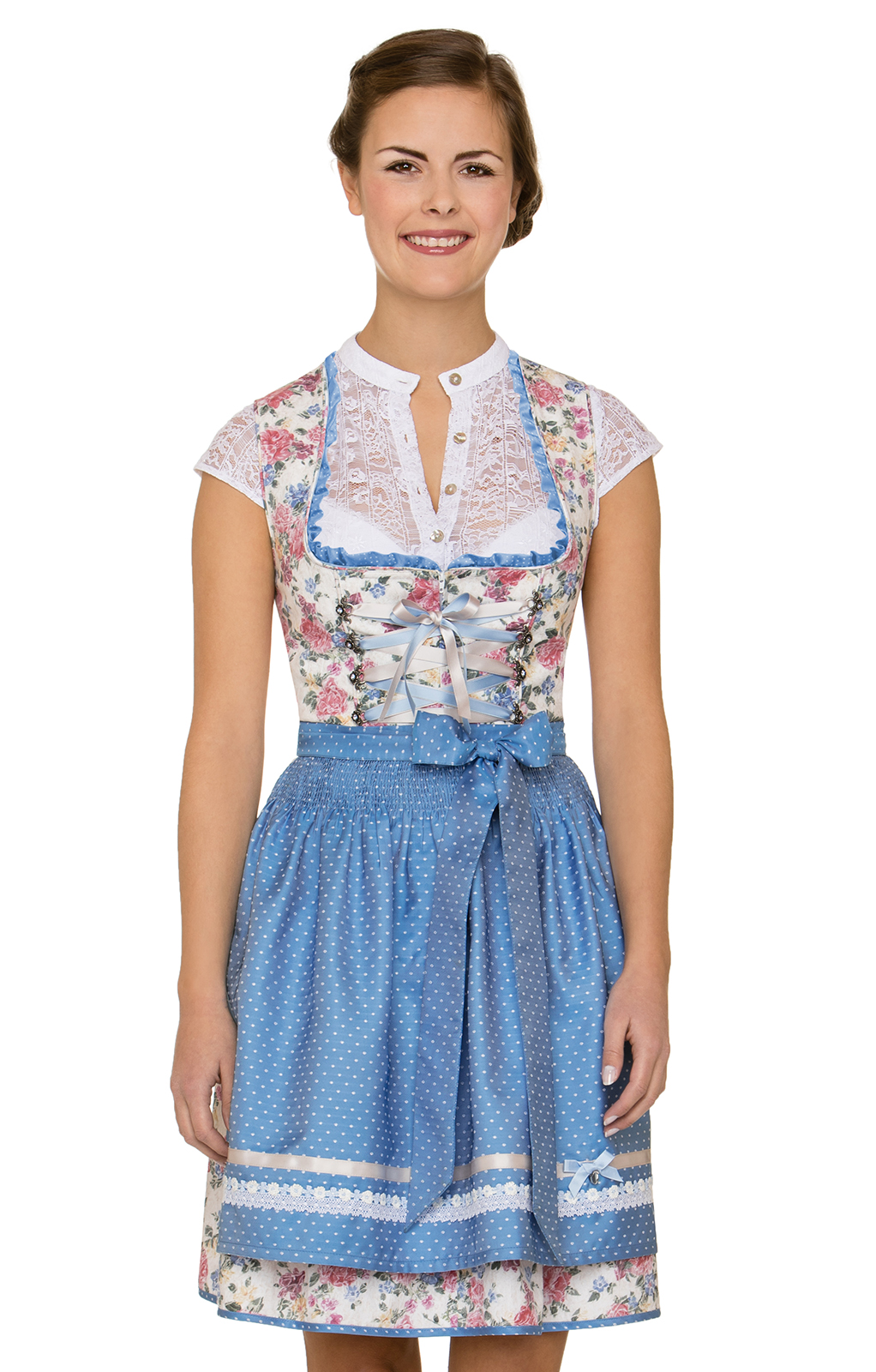 German Mini dirndl 2pcs. Saskia blue 50 cm von Stockerpoint
