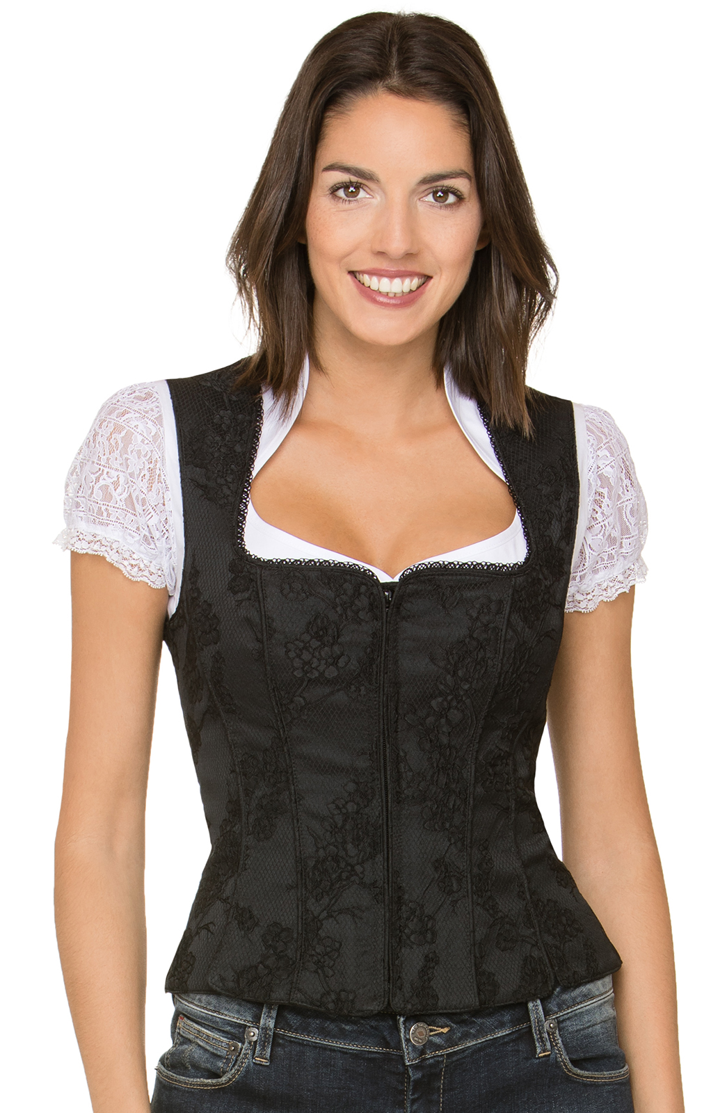 Traditional dirndl corsage Pria black von Stockerpoint