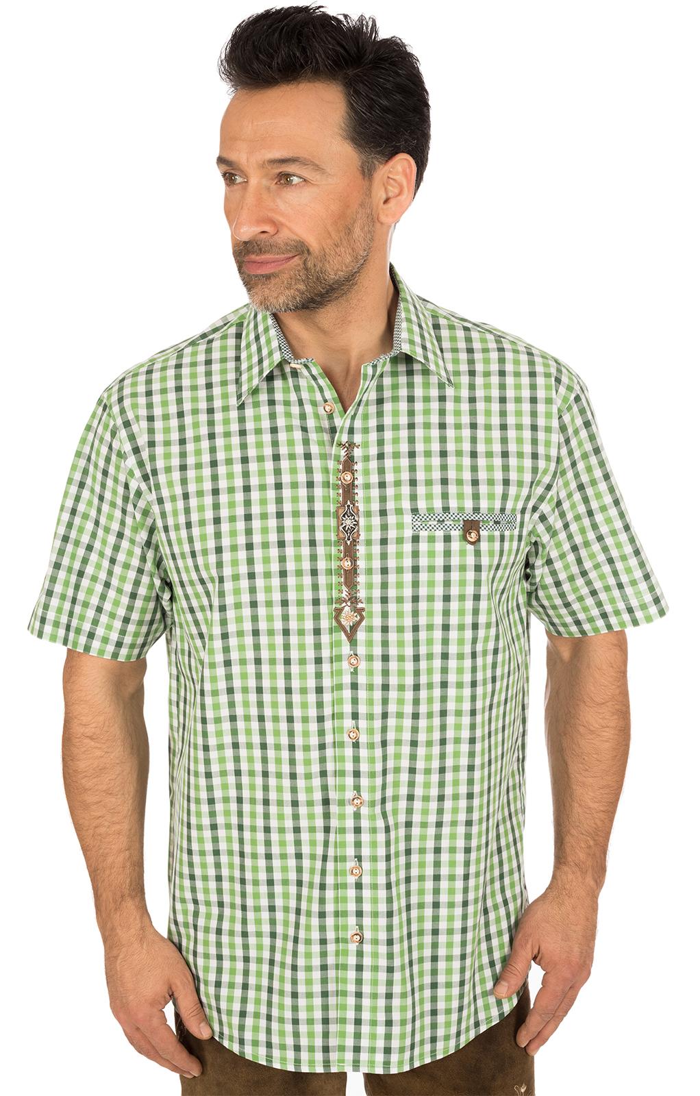 Klederdrachthemd korte mouwen groen von OS-Trachten
