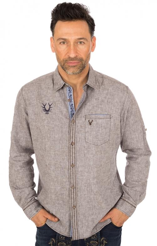Trachtenhemd LUIS Baumwolle braun