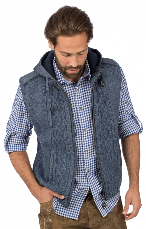 Trachtenweste HAINBURG Hoodie jeansblau