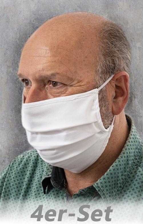 4er-Set Stoffmaske mit Gummiband MSA300 weiss