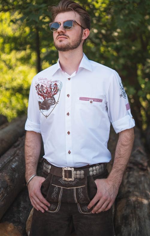 Tiroler overhemden 1/1 SF 420036-2879-136 wit rood