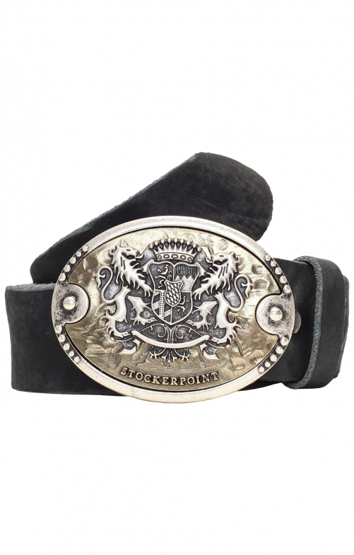 Traditional leather belt GO75 black