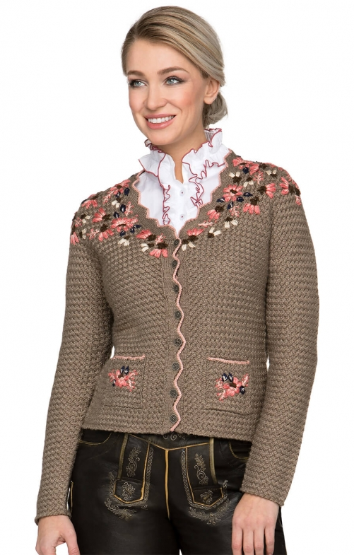 Traditional Cardigan FLORICA brown