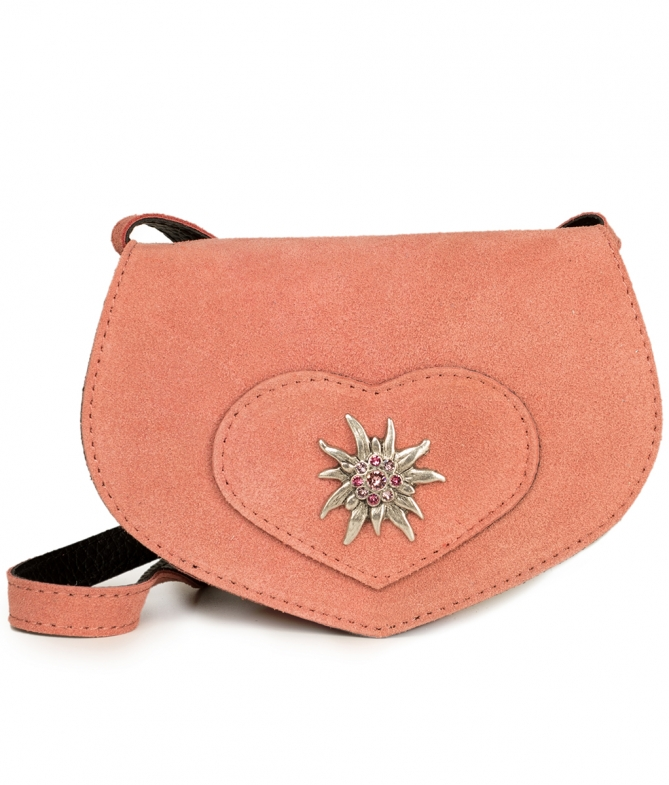 Traditional leather bag with heart TA30110-9196 pink