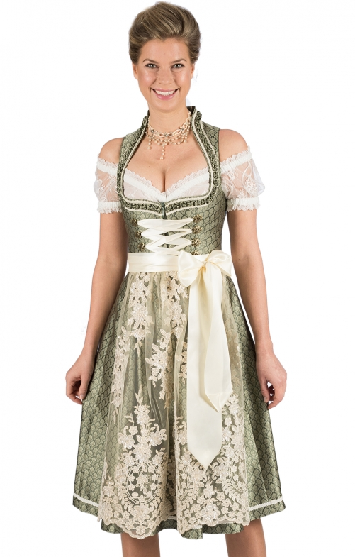 Mididirndl 2pcs. 65 cm GALIA green cream