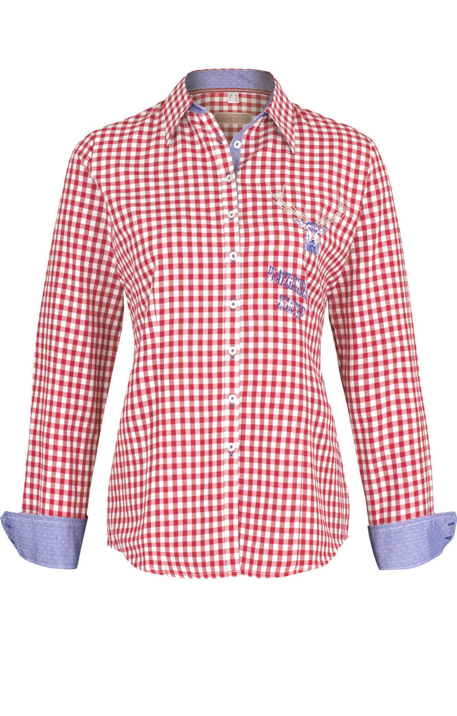 weitere Bilder von Trachtenkarobluse CORINNA rot karo Hemdblusenstil