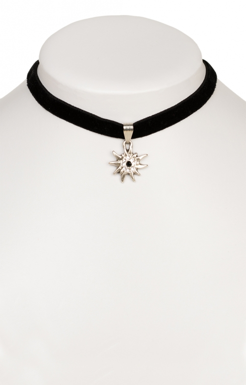 Traditional necklace Edelweiss 9197-SB black