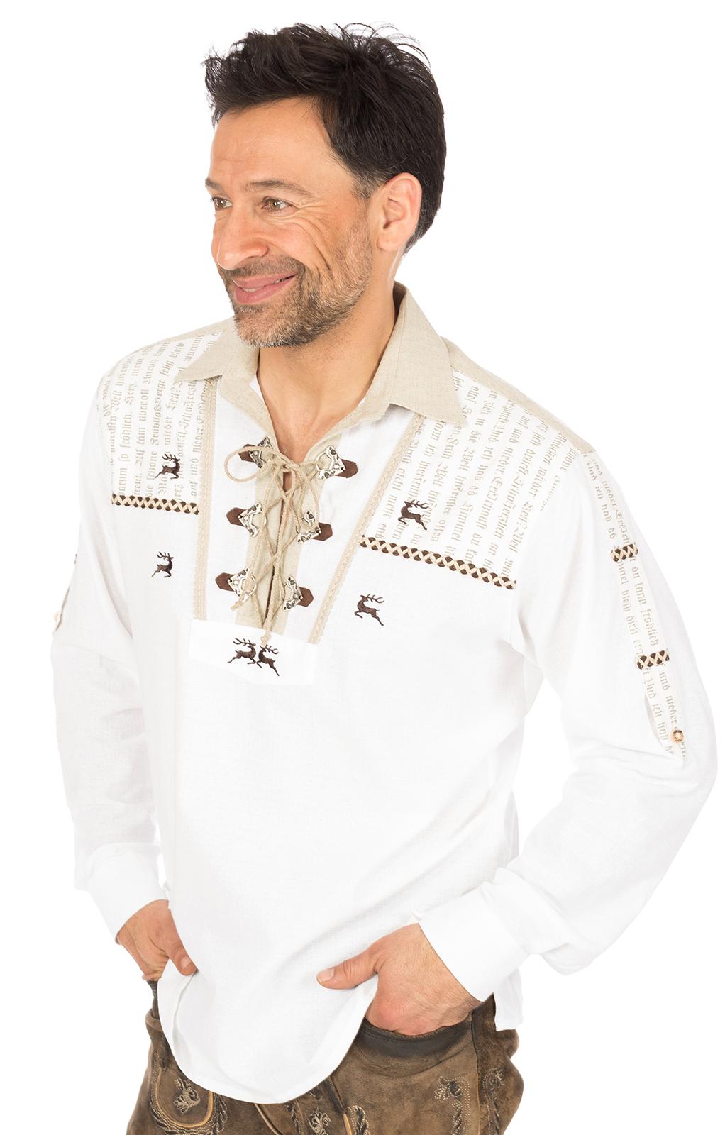 Trachtenhemd BORRIS Schlupfform weiss von OS-Trachten
