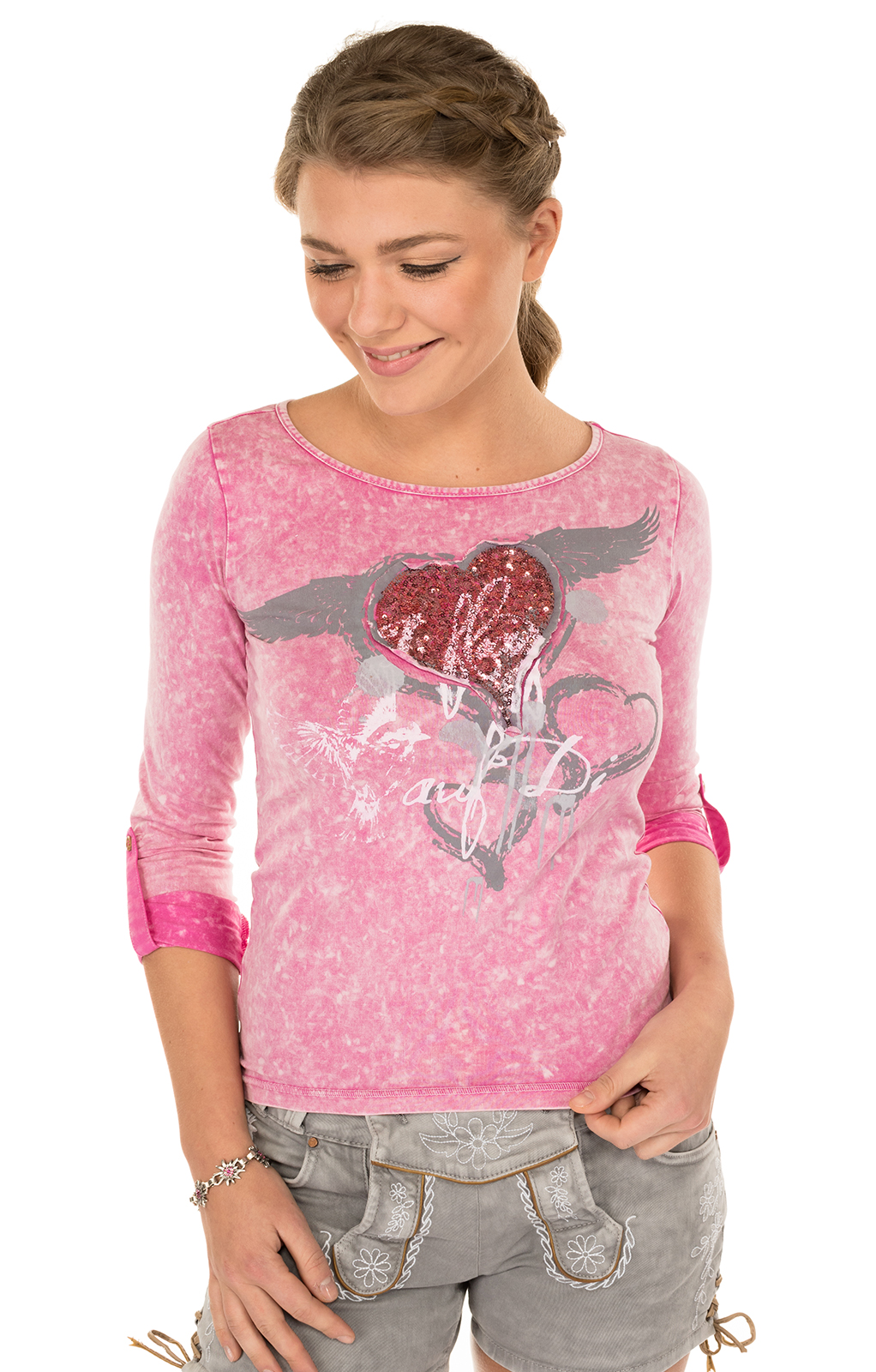 Trachten T-Shirt K30 FLIAGA pink von Marjo