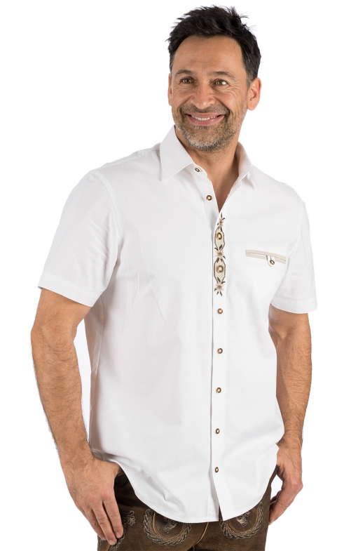 German traditional shirt arms short FRANK white