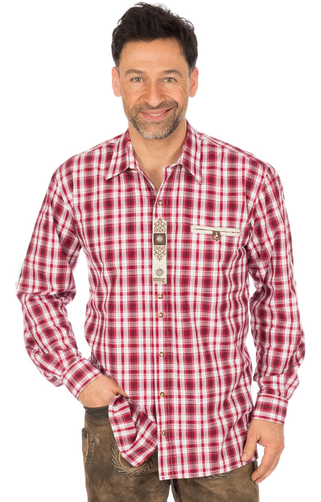 Trachtenhemd FLORIAN Webkaro rot von OS-Trachten