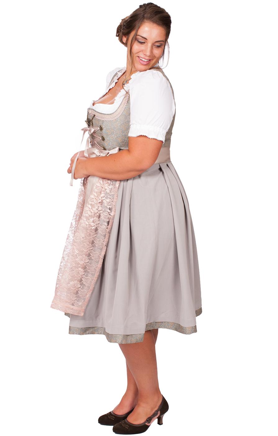 weitere Bilder von Mididirndl Rosabella 2tlg. 68cm PLUS SIZE rosa grau