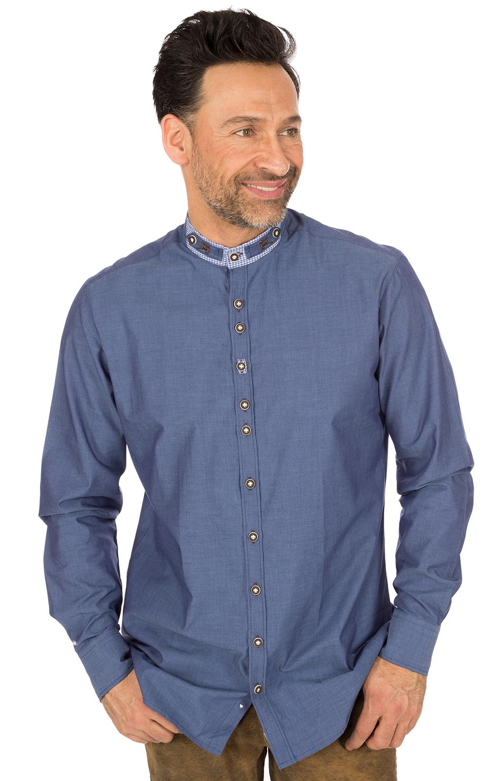 Trachtenhemd FERRY Stehkragen jeansblau von OS-Trachten