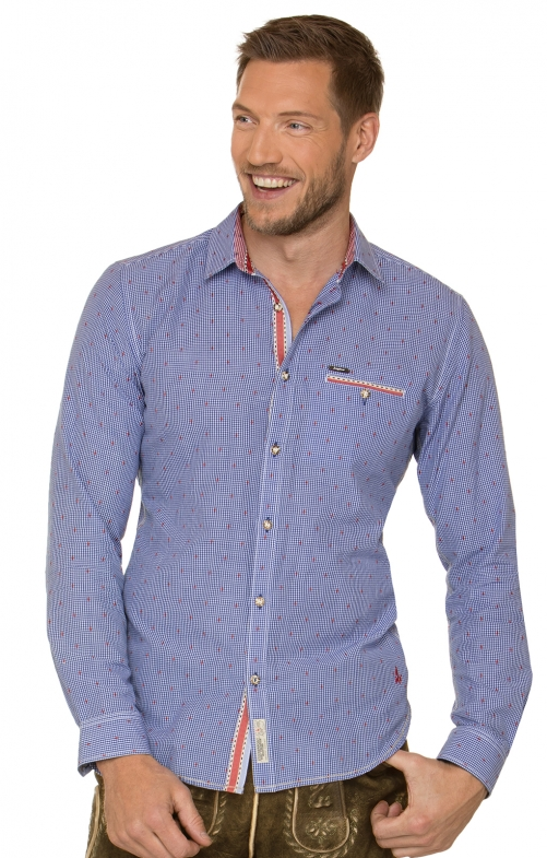 German traditional shirt long sleeve Taylor blue