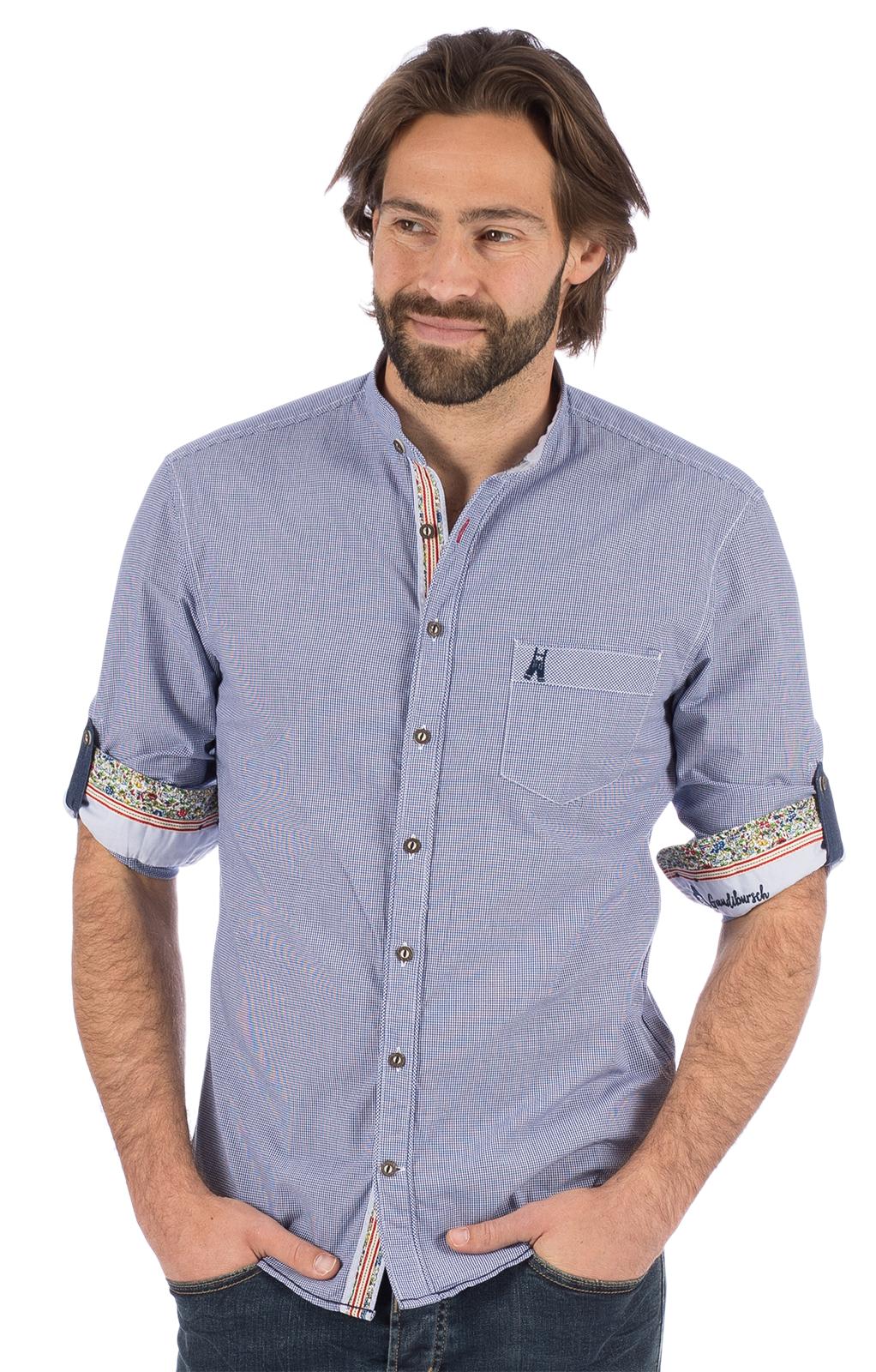 weitere Bilder von Trachtenhemd Langarm FAIT blau