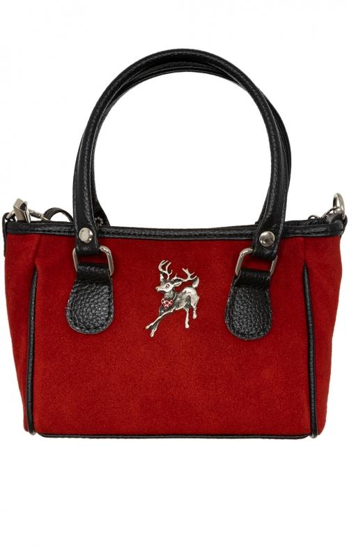 Kleine Trachtentasche TA30880 Veloursleder bordeaux