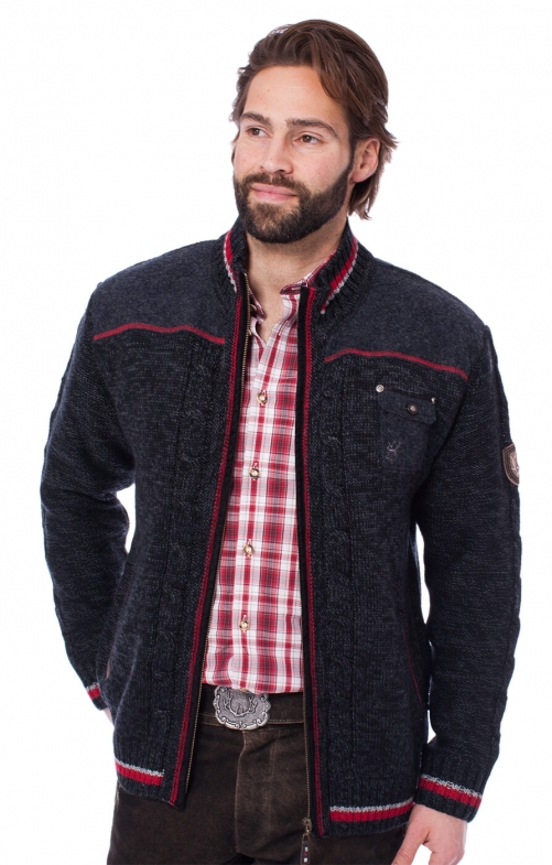 Trachten german cardigan BALDO black red