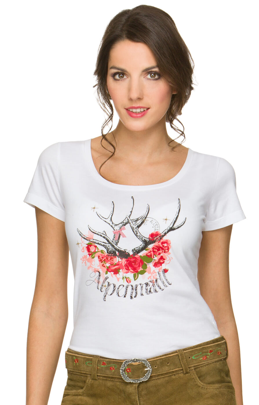 t shirt alpenmadl hirsch weiss bestellen. Black Bedroom Furniture Sets. Home Design Ideas