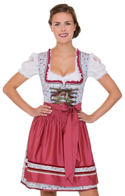 German Mini dirndl 2pcs. Yuna blue pink 50 cm
