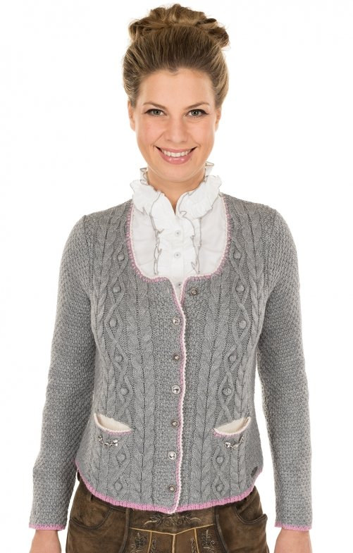 Traditional Cardigan gray pink