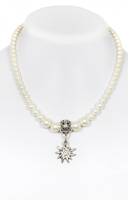 Tradtional pearl necklace 14007 pearl with heart pendant