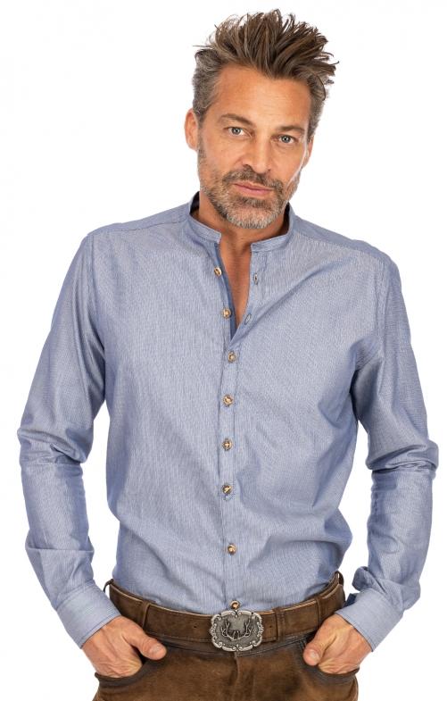 Stehkragenhemd BENNET blau