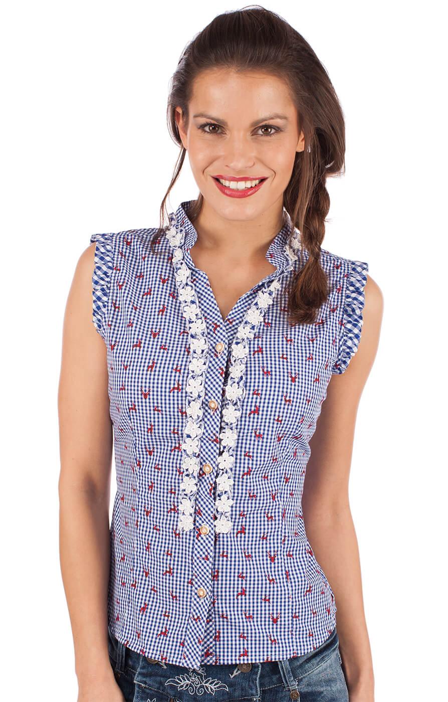 Trachten blouse BOBI-CO jeans blue von Almsach