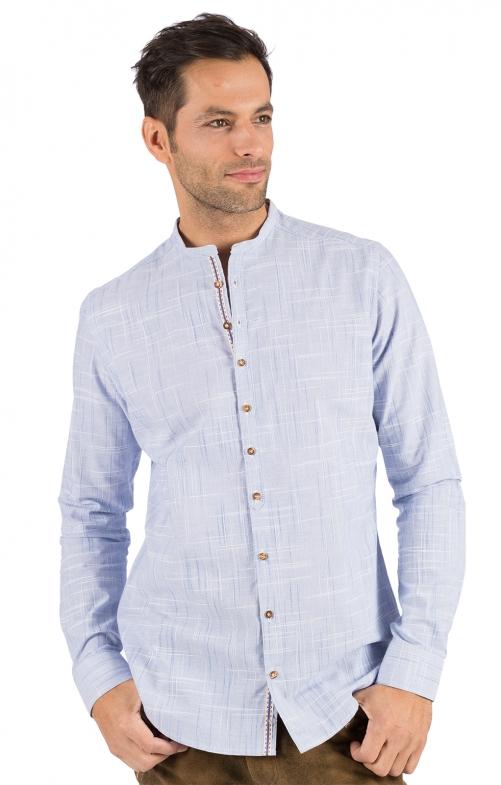 Trachtenhemd Stehkragen HEIKO hellblau