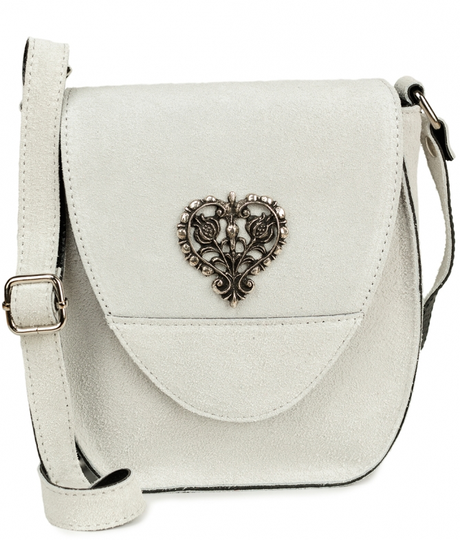 Traditional leather bag with heart TA30410-8525 white
