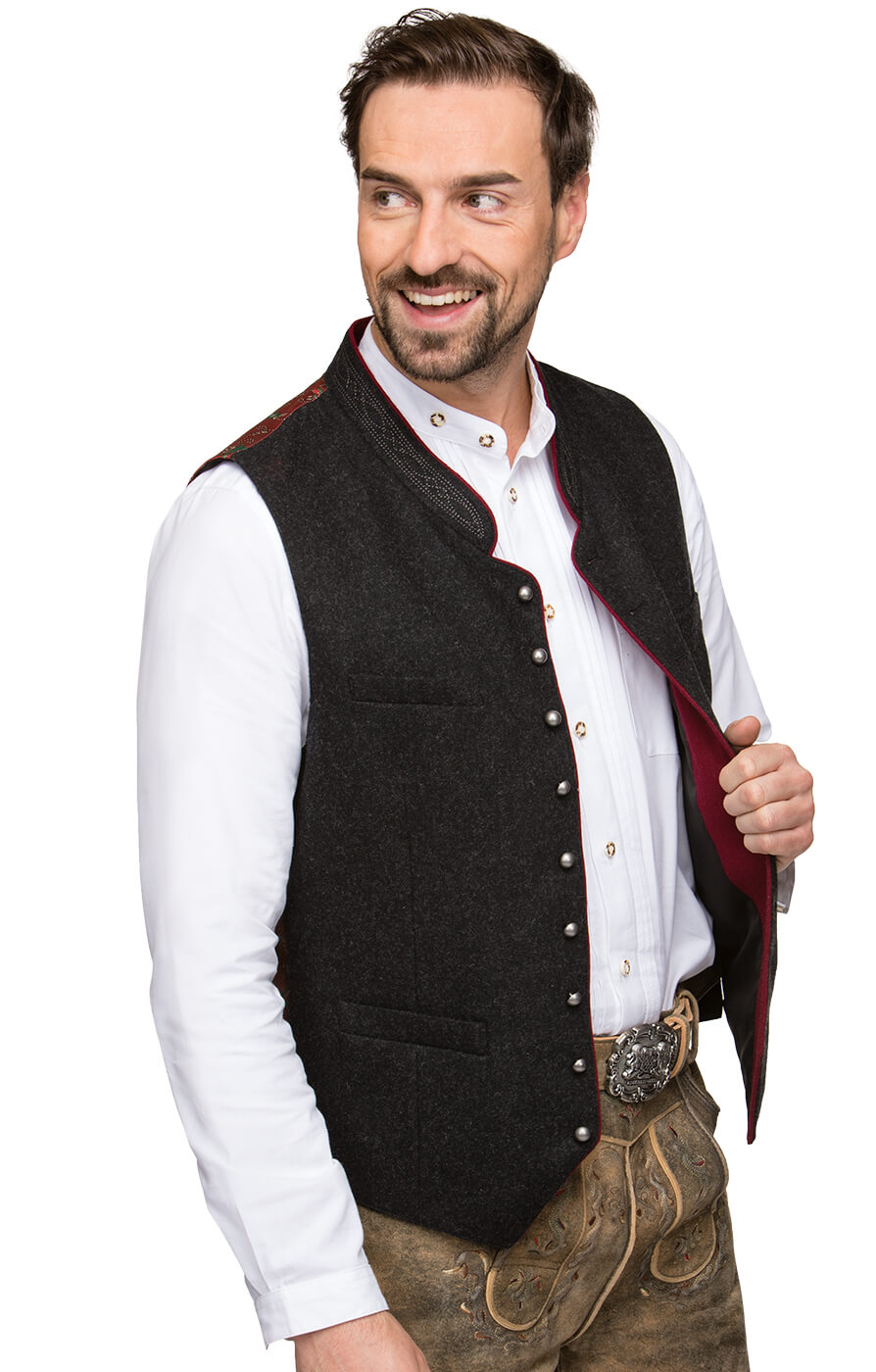 Traditional waistcoat CLEMENS gray/red von Stockerpoint