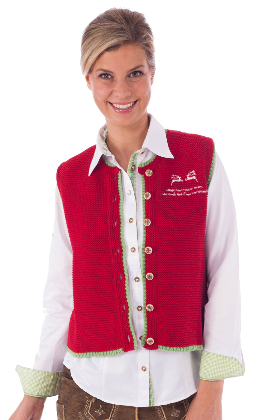 Traditional waistcoat Sontje red von OS-Trachten