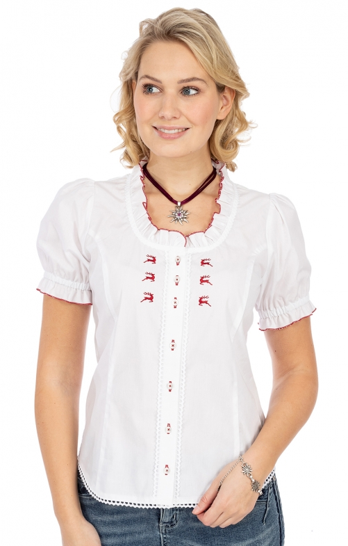 Bluse 451004-3450-134 weiss rot