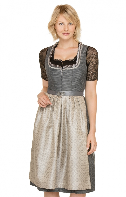 German Midi dirndl 2pcs.Marketa black brown 70 cm