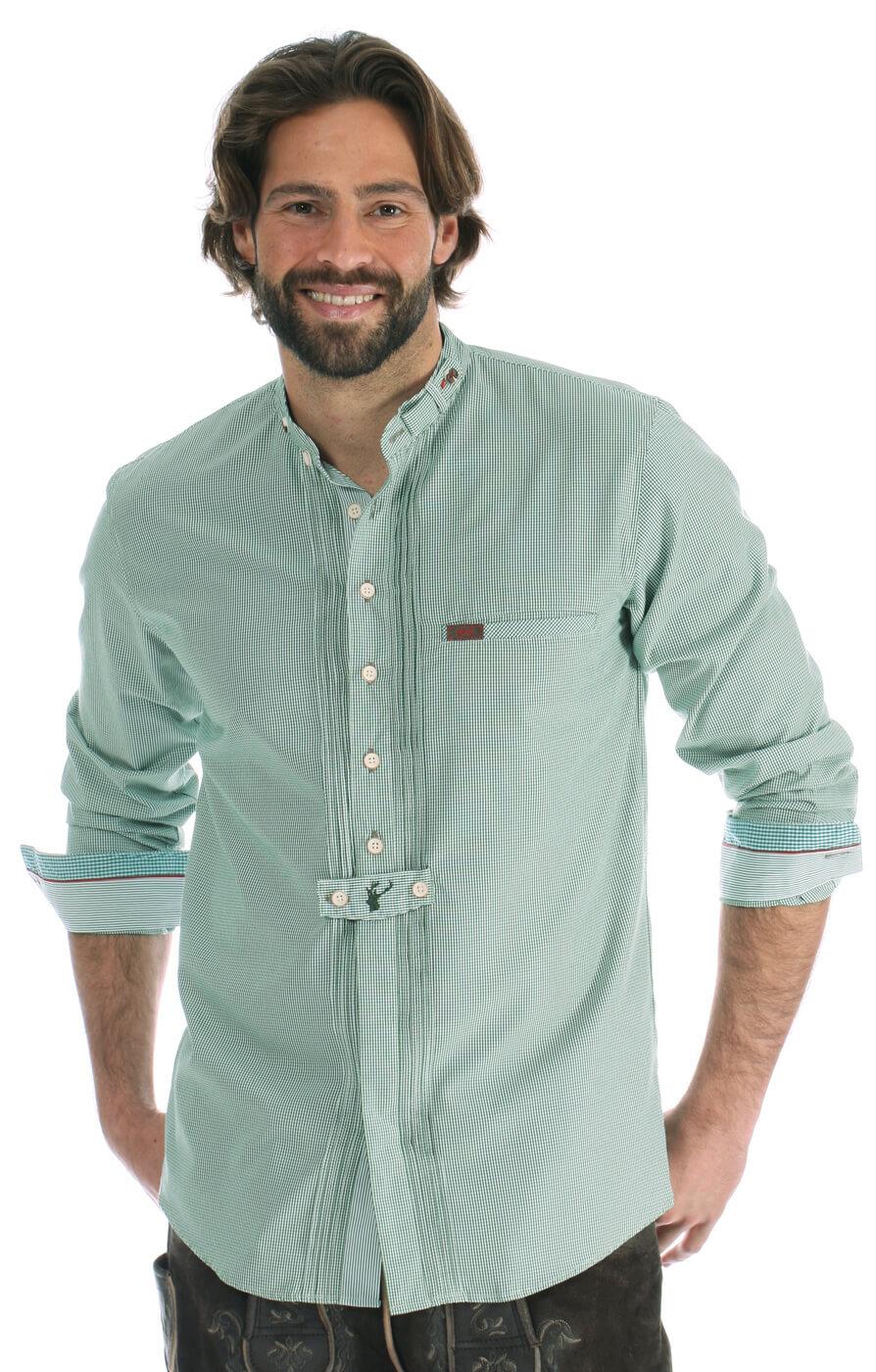 Trachtenhemd Pfoad Stehkragen grün von Spieth & Wensky