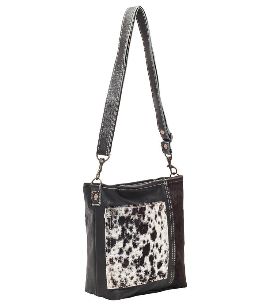 weitere Bilder von Trachtentasche TA53029 schwarz weiss mit Echt Kuhfell