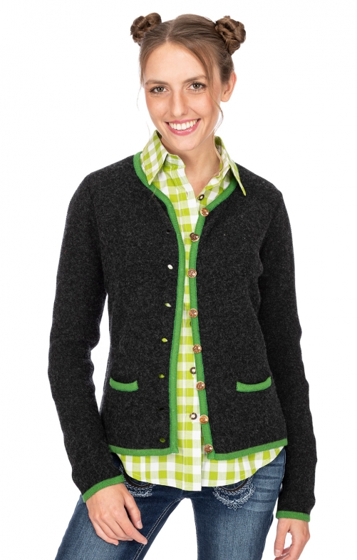 Strickjacke CARO anthrazit kiwi