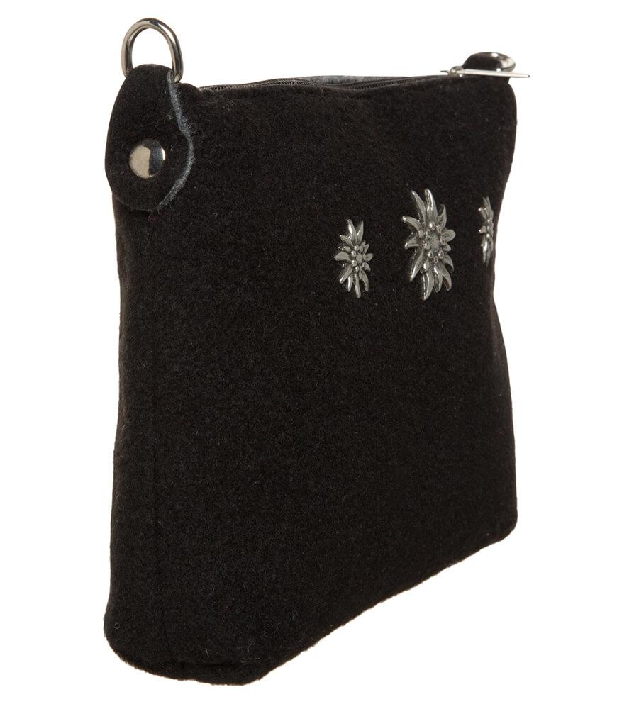 weitere Bilder von Trachten Schultertäschchen TA22590 Filzoptik Edelweiss, schwarz