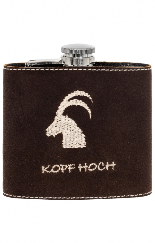Hip flask with leather STEINBOCK brown