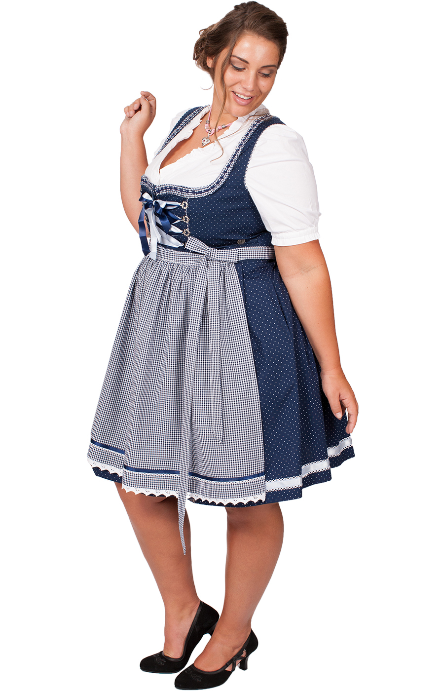 Mididirndl Miriam 2tlg. 58cm PLUS SIZE blau von Marjo