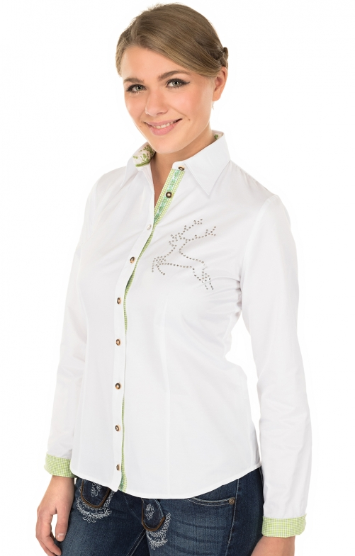 Trachtenbluse TILLY Langarm weiss
