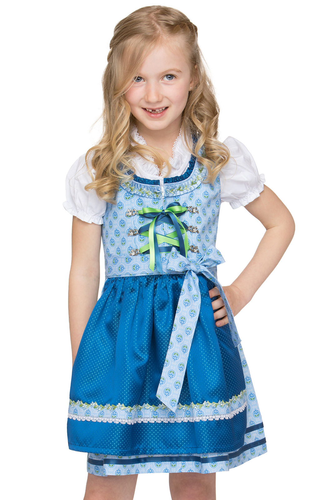 Traditional Children dirndl KAJA light blue von Stockerpoint