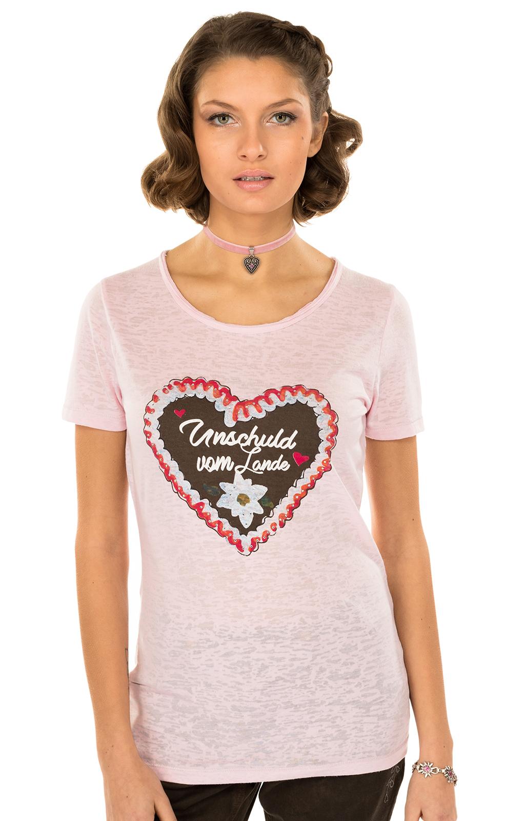 Trachten T-Shirt ANTARES rose Herzmotiv von Hangowear