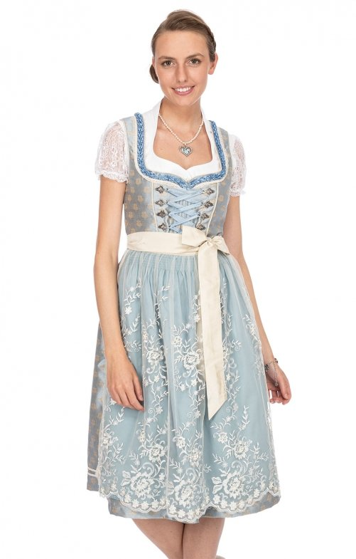 Mididirndl 2pcs. 70 cm LANA light blue creme
