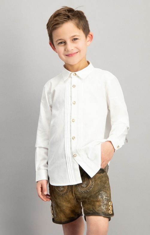 Children traditional shirt MIKA2 junior white
